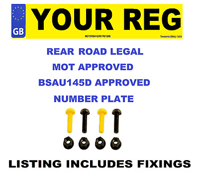 Car Number Plate - GB Euro Single Rear - Road Legal - Inc Fixing Nuts & Bolts