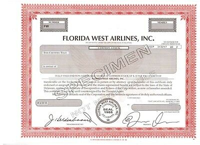 Specimen: Florida West Arilines Inc.