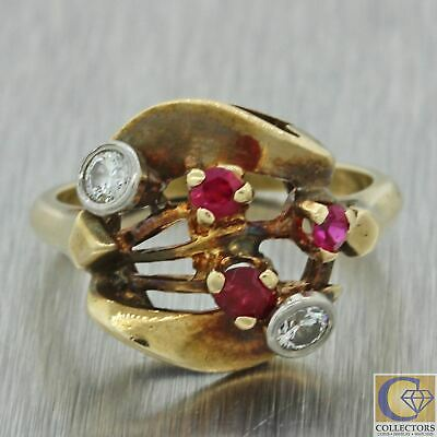 1930s Antique Art Deco 14k Solid Yellow Gold .20ct Diamond Ruby Cocktail Ring