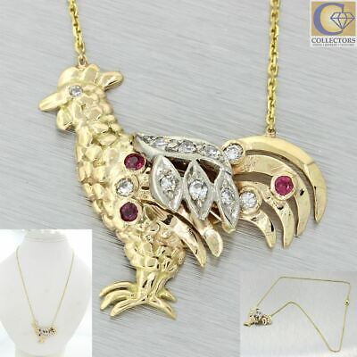 1930s Art Deco 14k Yellow Gold Year of the Rooster Diamond Ruby Pendant Necklace