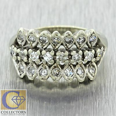 1930s Antique Art Deco 14k Solid White Gold .76ctw Diamond Cluster Band Ring