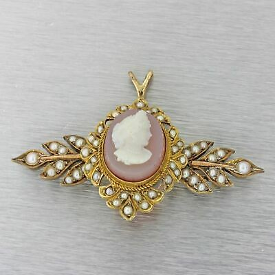 1880s Antique Victorian 14k Solid Gold Cameo Pearl Necklace Pendant Brooch Pin