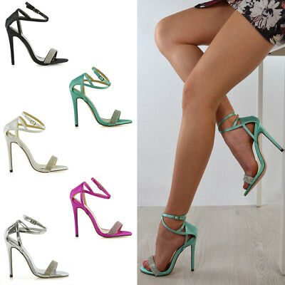 Womens High Heel Sandals Ladies Ankle Strap Satin Rhinestone Party Shoes Size