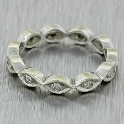 1940s Antique Art Deco Vintage Estate 14k Solid White Gold .22ctw Diamond Ring