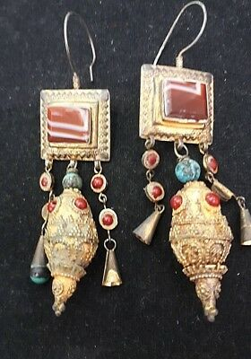 Antique Etruscan Revival Ancient Agate Gold Sterling Silver Chandelier Earrings