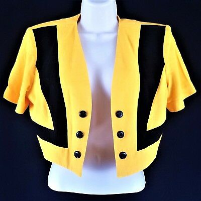 Vintage Women's 9/10 80's Short Sleeve Yellow Black Color Block Cropped Jacket