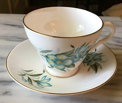 Royal Grafton Bone China Turquoise Floral Cup & Saucer Numbered 5/387