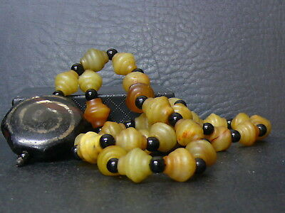 (kL994) Tibet Necklace Old DZI (very rare hexagon)  and stone  hand carved beads