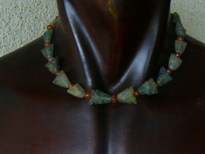 (kV153) Tibet Old Necklace  Gemstone Carnelians and stone fish Hand Carved beads