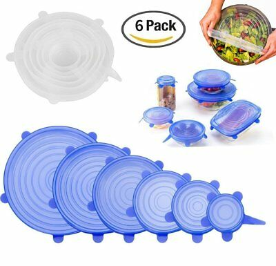 6 Pcs Reusable Silicone Stretch Lid Food Pan Bowl Covers Wrap Keep Food Fresh