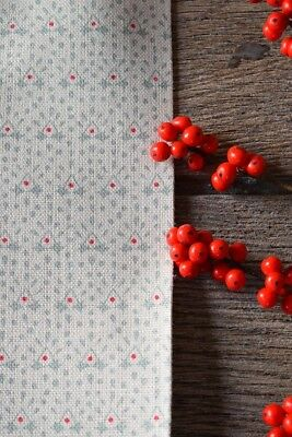 Peony and Sage - Anastasia - Eucalyptus Green & Red on Cream Chunky Linen