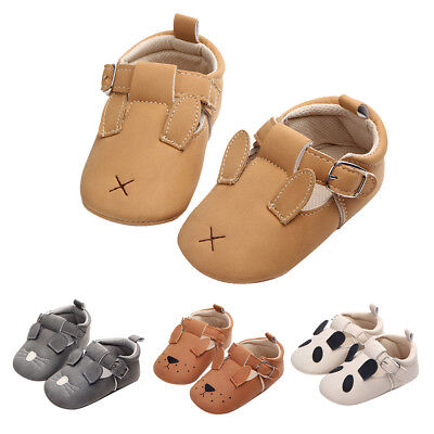 Cute Animals Baby Boy Girl Crib Moccasin Shoes Kids Soft Sole PU Leather Shoes