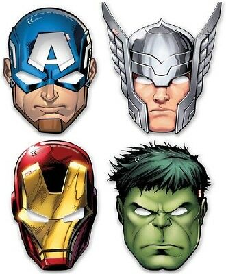 Avengers Face Mask Party Mask Superhero Partyware Childrens Party 6 Per Pack