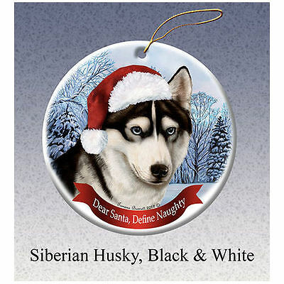 Siberian Husky Black Howliday Porcelain China Dog Christmas Ornament