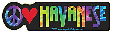 Peace Love Havanese Tie Dye Hippie Dog Car Decal Sticker