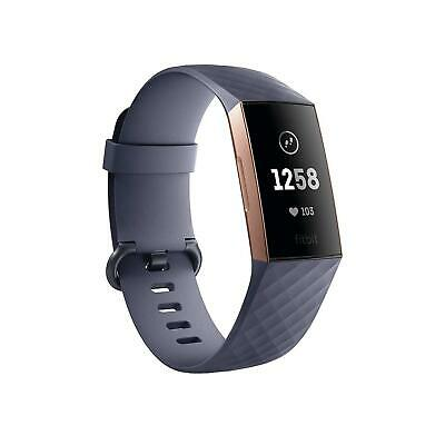 Fitbit Charge 3 Advanced Rose Gold Activity Tracker - Blue/Gray Bands