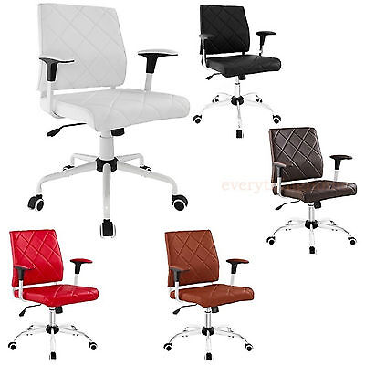 Padded Desk Office Mid Back Chair Rolling Casters Mid-Century Miller - Black Whi