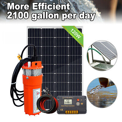 100W Solar Powered Panel &12V DC Deep Well Submersible Solar Water Pump for Farm