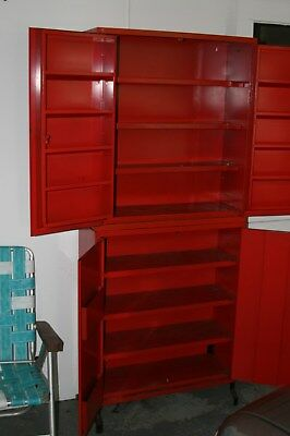 Vintage Red Niehoff Tune-Up Center Mechanic Auto Part Cabinet w/ Lock & KeYS