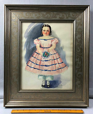 Original Watercolor Painting Paper Victorian Child Girl Lucille Person Rehoboth