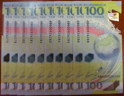 100 rubles Russia 2018 AB rare series!!! FIFA World Cup Russia Polymer UNC