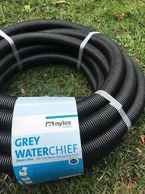 "Nylex 10M Grey Water Diverter Hose 25MM - 1"" With Fitting Australian Made RRP$39"