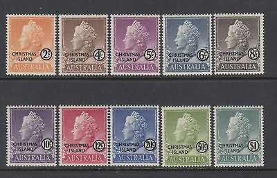 1968 Christmas Island - QEII DEFinitives - MNH set of 10 (some rear defects)