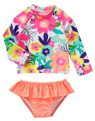 NWT Gymboree Swim shop Flower Rash Guard Set Swimsuit UPF 50+ Toddler many Sizes