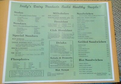 Old Isaly's Dairy Products Menu 10 Cent Milkshakes, Sundaes, Sodas, Lunch Print