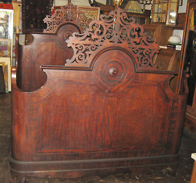 """19cent. AMERICAN CARVED ROSEWOOD BED  ca. 1860 71"""" tall"""