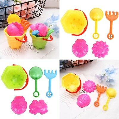 5pcs/Set Beach Plastic Bucket Set Tiny Beach Sand Toys For Toddler Kids Play NEW