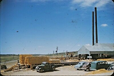 Vintage 35mm Kodachrome Photo Slide, Utah Lumber Mill, Old Autos, Americana UT