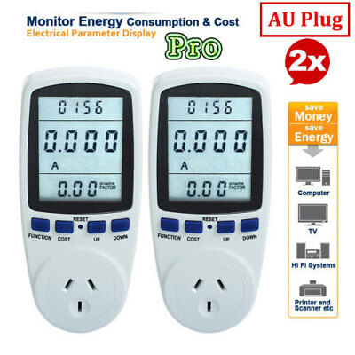 2X Power Energy Consumption Watt Volt Meter Electricity Usage Monitor Socket AUS