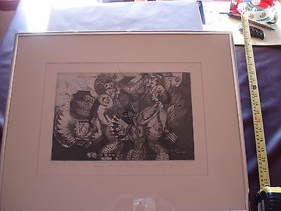"Native American Original Etching ""War Dancing"", Signed/Numbered, Grey Cohoe"