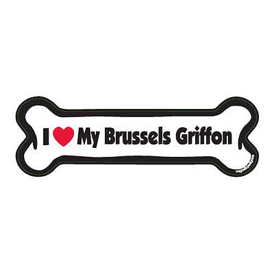 I Love My Brussels Griffon Dog Bone Car Magnet
