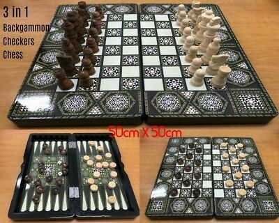 Large Chess 3 in 1 Folding Chess Set Board Game Checkers Backgammon 50cm x 50cm