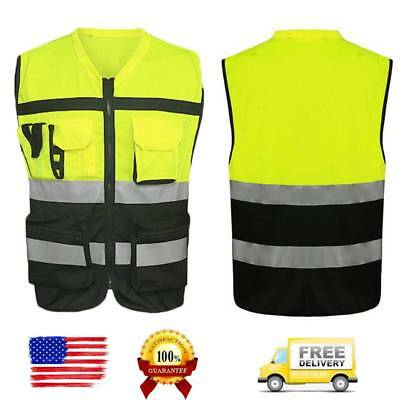 Pockets Neon Green Safety Vest with Reflective Strips Safety Work Vest Class