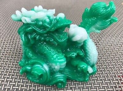 NEW JADE Color Chinese Feng Shui Dragon Figurine Statue for Luck & Success