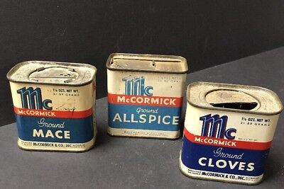 Lot of 3 Vintage Spice Tins: ALL McCormick Brand Mace, Cloves & Allspice