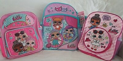 LOL Surprise Backpack PINK L.O.L Surprise Backpack PURPLE 5pc Lunch Tote NEW