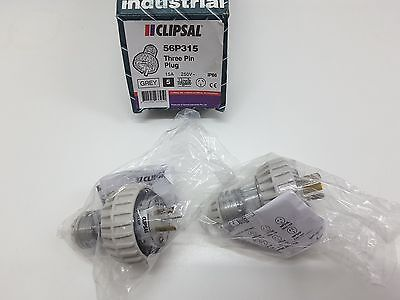 2 X NEW CLIPSAL 15A WEATHERPROOF PLUG 56P315 SINGLE PHASE IP66 -gpo /power point