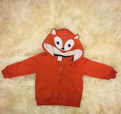 Gymboree Neutral Fox Hooded Sweater Size 18-24 Months