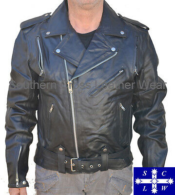 Men's Leather Motorcycle Jacket Brando Style  Size M-7xl