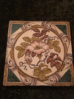 "Antique 6"" Victorian Tile, Polychrome Dog Rose Floral Pattern, Rd No 76832, 1887"