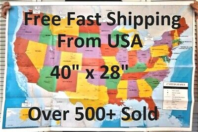 US MAP USA MAP United States wall map Large 40 X 28 Poster Size ...
