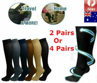 2Pair/4Pair Compression Miracle Socks Aching Feet Varicose Veins Travel Flight