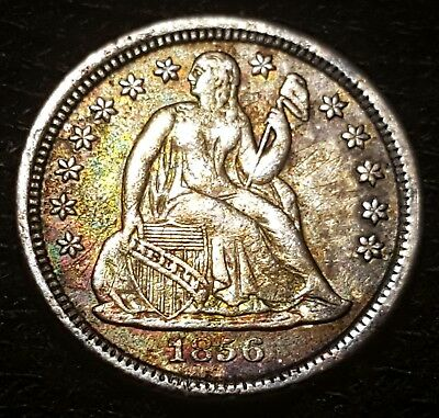 1856-P 10-Cent, Liberty Seated Dime, Variety 2-Resumed, Sm Date, Toned Beauty!