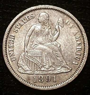 1891-P 10-Cent, Liberty Seated Dime, Variety 4-Resumed, Last Year Minted!