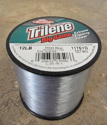 Berkley Trilene Big Game Mono Fishing Line, Steel Blue - 12lb - 1175yds