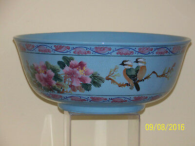 """Rare Chinese Republican Sky Blue Glaze Hand Painted Design """"Large"""" Punch Bowl"""
